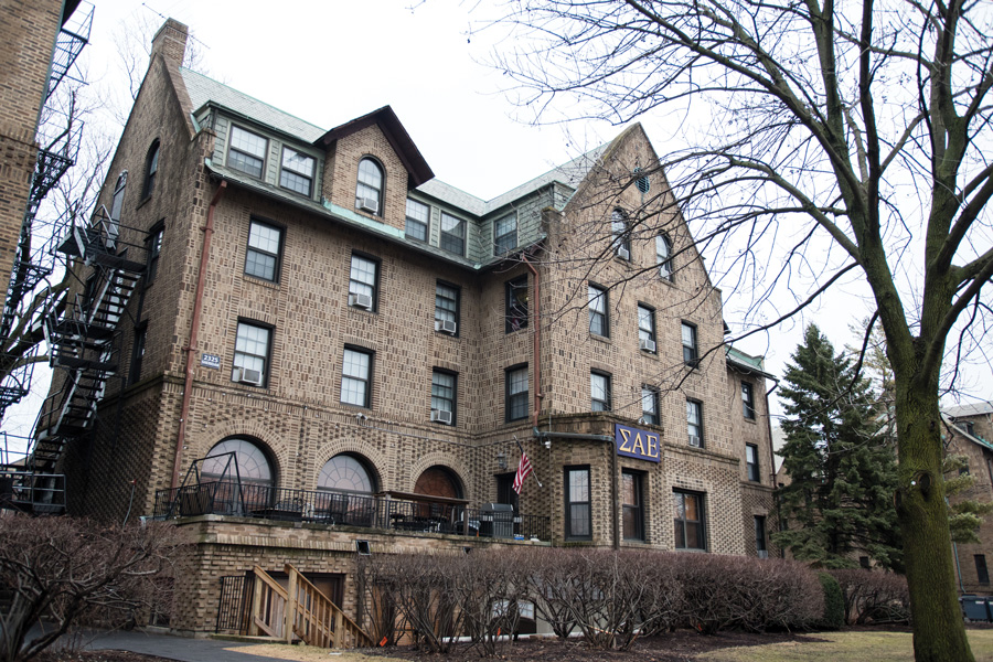 Sigma Alpha Epsilon fraternity's house on Northwestern's campus. More than 100 students signed a letter condemning the University's lack of disciplinary action against the fraternity.