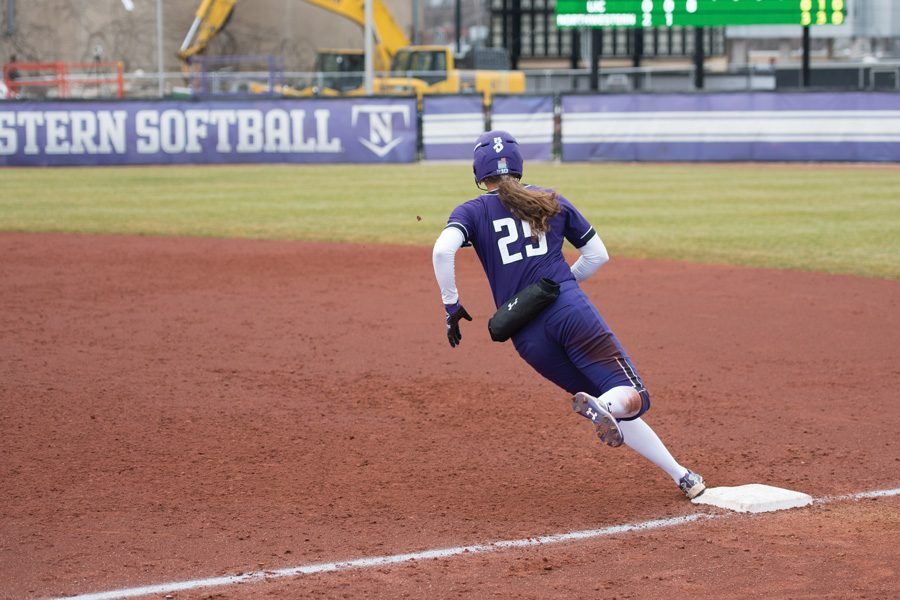 Anna+Petersen+rounds+first+base.+The+senior+looks+to+lead+the+team%E2%80%99s+offense+against+Maryland+this+weekend.