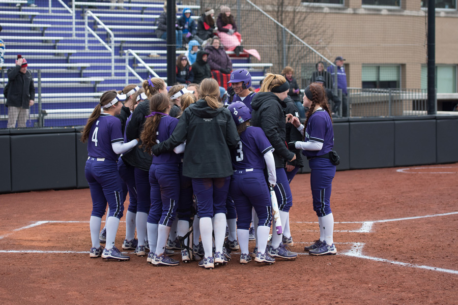 The Wildcats celebrate a home run. Northwestern is looking to returning to its winning ways Wednesday against DePaul.