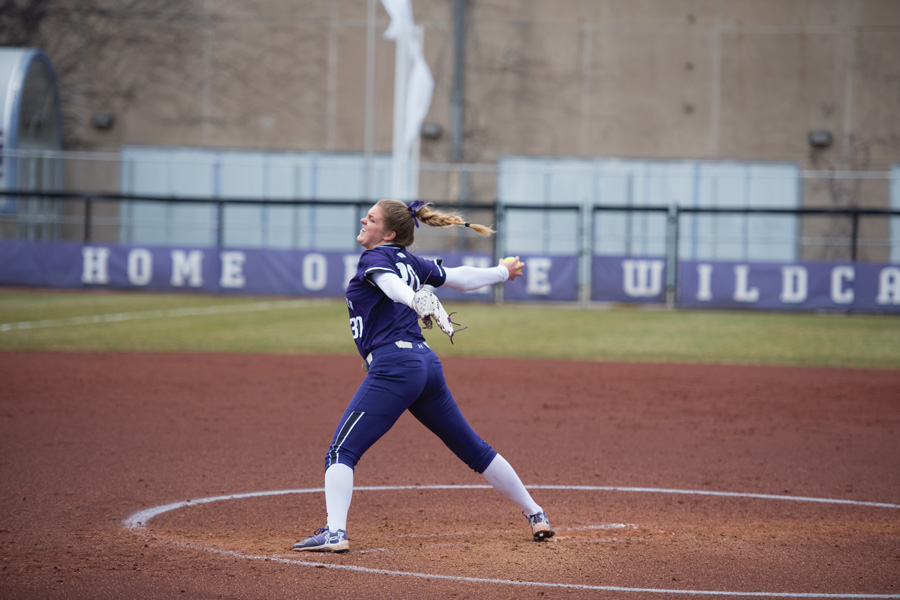 Kaley Winegarner throws a pitch. The sophomore led the Wildcats to a win over DePaul on Wednesday.