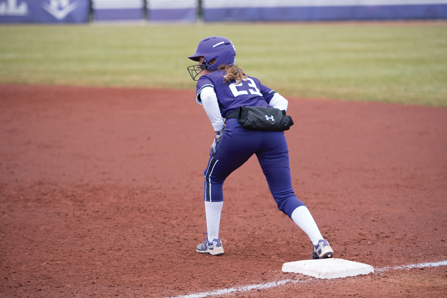Krista Williams gets on base. The senior outfielder stole two bases and scored four runs over the weekend.
