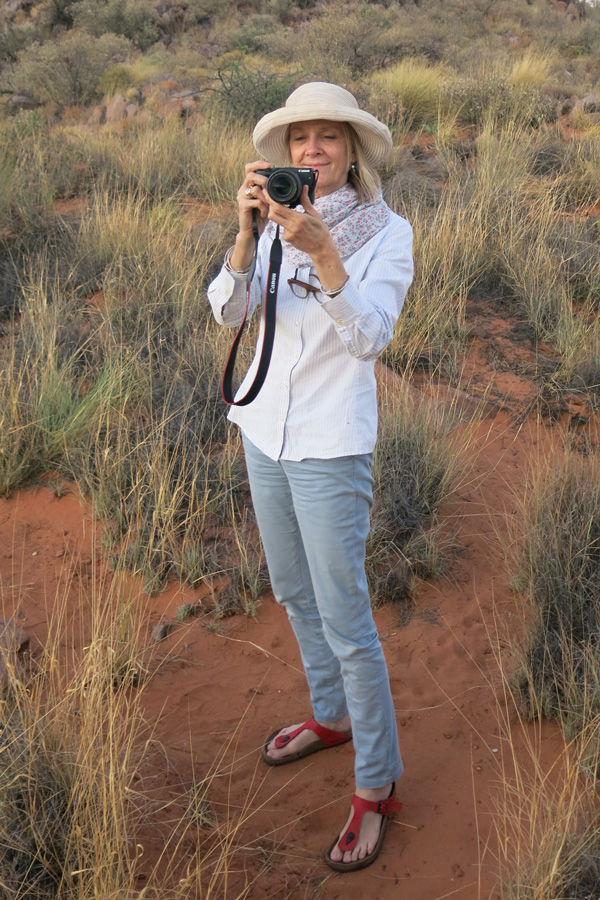 South African artist and academic Pippa Skotnes does field work in the Northern Cape, a South African province. Skotnes is this year's Roberta Buffett Visiting Professor of International Studies.
