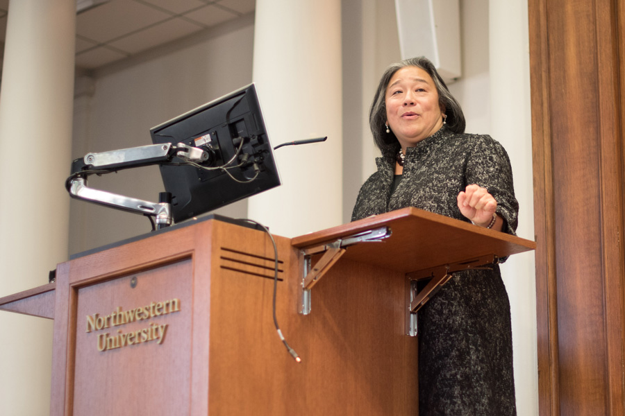 Tina Tchen (Law '84) speaks in Harris Hall on Tuesday. Tchen served as former first lady Michelle Obama's chief of staff from 2011 to 2017.