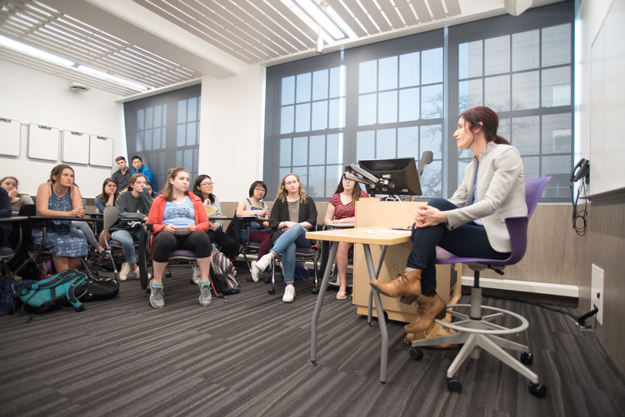 "Pritzker School of Law Prof. Deborah Tuerkheimer speaks at an event in Kresge Hall on Tuesday. The event, titled ""Rape Law in Flux,"" focused on her work in sexual assault law reform."
