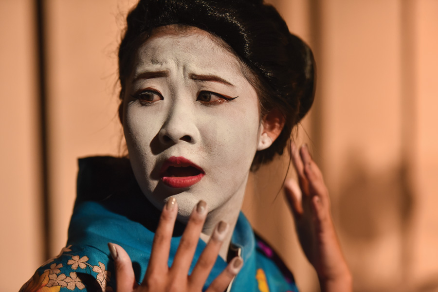"Communication senior Sharon Wei performs in ""This is Not a True Story."" The play, written by Communication junior Preston Choi, features an all-female Asian cast."