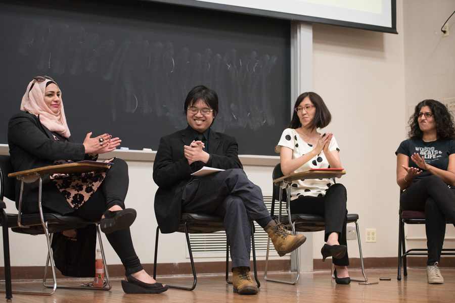Panelists+speak+in+Fisk+Hall+on+Monday+during+event+hosted+by+Asian+American+studies+program+and+Multicultural+Student+Affairs.+The+panelists+discussed+how+Asian+Americans+can+use+political+engagement+to+resist+oppressive+policies+in+the+Trump+era.