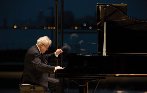 Seven-time Grammy award winner Emanuel Ax performs in Mary B. Galvin Recital Hall at a performance on Wednesday. The sold-out concert finished with a standing ovation.