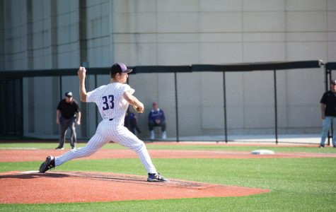 Caption: Senior pitcher Cooper Wetherbee throws a pitch. Wetherbee struck out nine batters in 6.2 innings of NU's Sunday win over Maryland, but watched his college career end in the Cats' loss to Iowa later in the day.