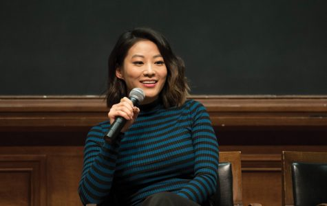 """Arden Cho speaks to students at Harris Hall. The """"Teen Wolf"""" star talked about the lack of Asian American representation in the media and said the industry needs more Asian American producers and writers to tell their stories."""