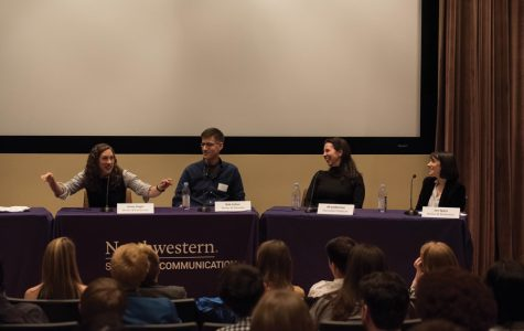 Comedians speak during a writer's panel in Annie May Swift Hall on Friday. The speakers discussed the function of late night television comedy in a contentious political climate and offered advice for aspiring students.