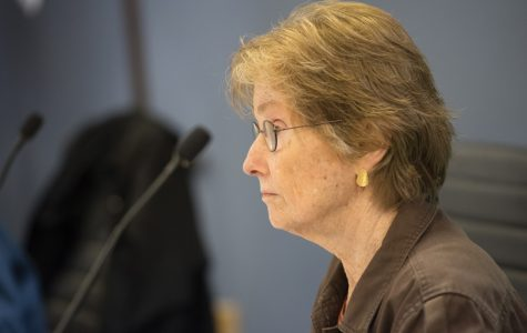 Ald. Eleanor Revelle (7th) speaks at a City Council meeting. Revelle said on Monday she opposed a possible roadway through Isabella Woods, an undisturbed oak forest in northwest Evanston.