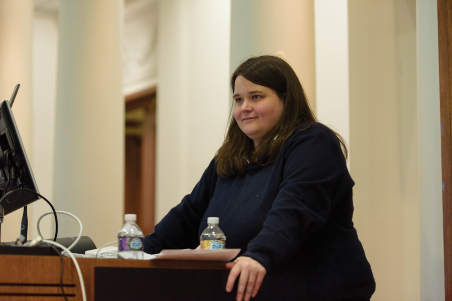 Amanda Cox, editor of the New York Times' Upshot, explains the importance of data visualization in Harris Hall on Wednesday. She said though graphics and charts can enhance a story, they shouldn't be overly complicated.