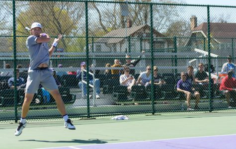 Strong Kirchheimer fires a forehand. The senior has played an integral role in the Wildcats' success over the last four years.