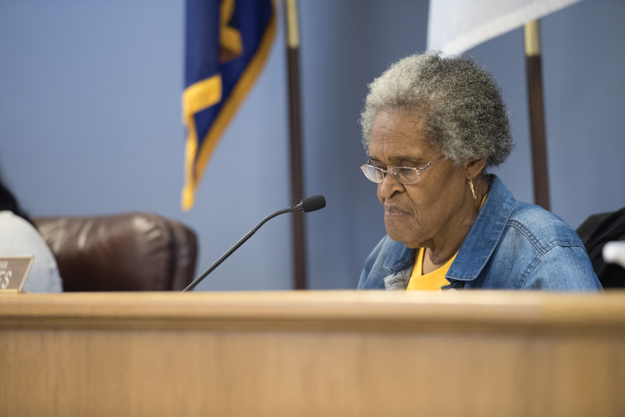 "Ald. Delores Holmes (5th) attends a Human Services Committee meeting on Monday. Committee members reviewed a proposal for the parameters of a ""Citizen Complaint Working Group"" and will pass it along to City Council."