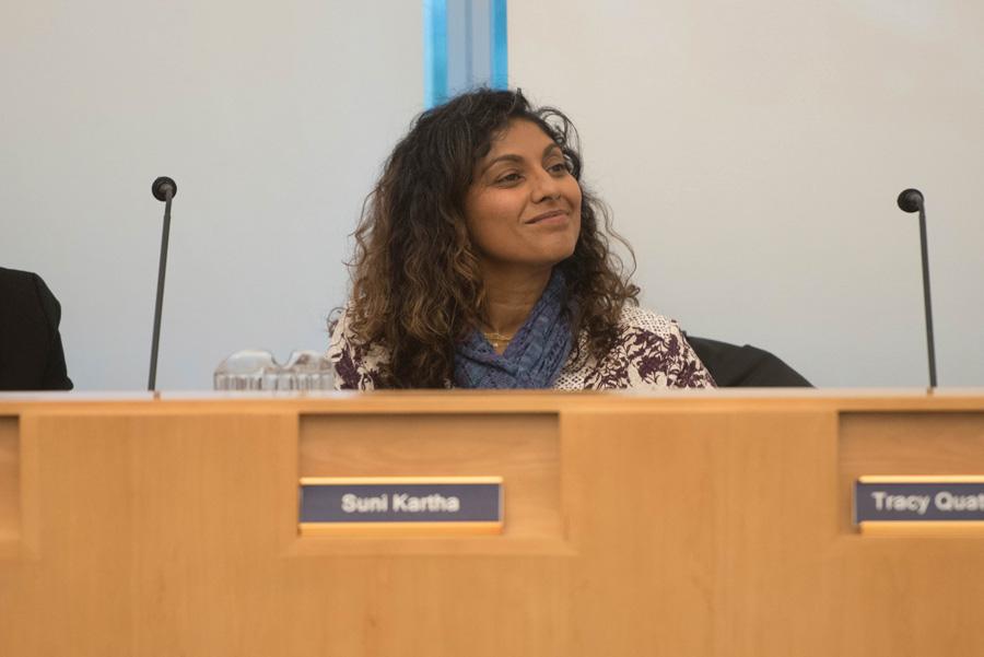 Evanston/Skokie School District 65 board president Suni Kartha at a meeting last week. Kartha assumed a one-year term as president last week, unseating former president Candance Chow.
