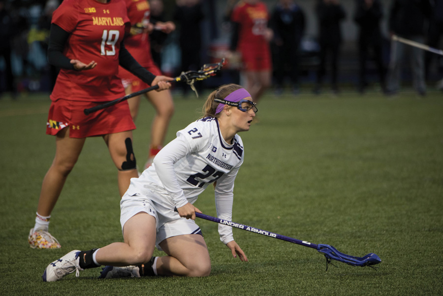 Nicole Beardsley goes to the ground. The junior attacker and the Wildcats fell to Maryland in the Big Ten Tournament final.