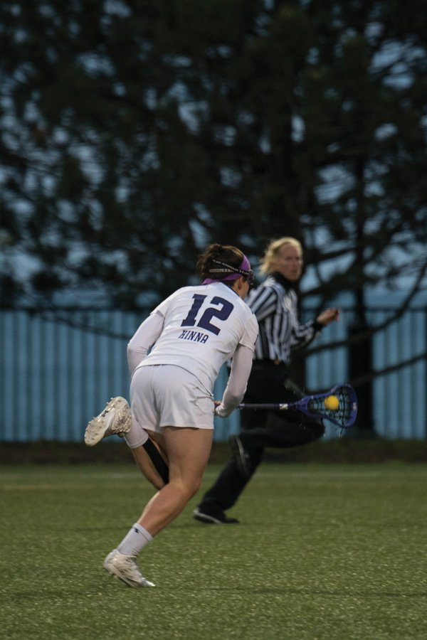 Megan+Kinna+stumbles+forward.+The+freshman+midfielder+and+the+Wildcats+crashed+out+of+the+NCAA+Tournament+against+Stony+Brook+on+Sunday.