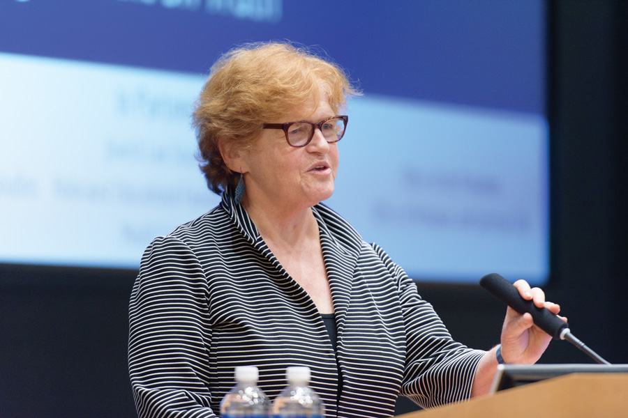 Deborah+Lipstadt%2C+professor+of+Modern+Jewish+and+Holocaust+Studies+at+Emory+University%2C+speaks+to+students+at+the+McCormick+Foundation+Center+Forum+on+Thursday.+Lipstadt+explained+the+motivating+factors+behind+Holocaust+denial+and+detailed+her+own+legal+battle+with+Holocaust+denier+David+Irving.