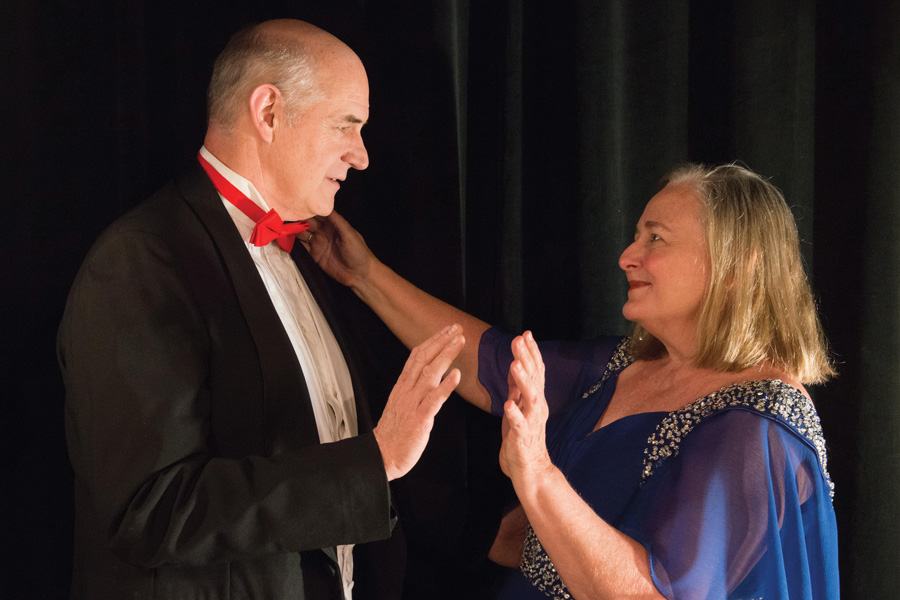 """Jenni, played by Laurie Larson, and Jerry, played by Dev Kennedy, learn how to ballroom dance and communicate with each other in person in Piven Theatre's staging of """"Dance for Beginners."""""""