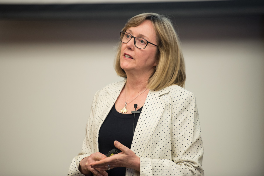 Smith College President Kathleen McCartney speaks at the Allen Center on Thursday. McCartney discussed women in leadership and how to overcome sexism.