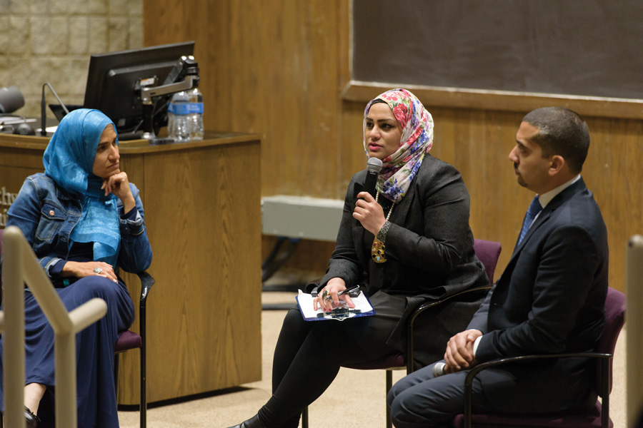 Dalia+Mogahed+and+Mehdi+Hasan+speak+with+moderator+Tahera+Ahmad+at+Leverone+Hall+on+Friday.+The+speakers+discussed+how+Muslims+have+a+%E2%80%9Cspecial+role%E2%80%9D+in+fighting+bigotry+and+how+they+need+to+take+more+civic+action+during+an+event+hosted+by+the+Muslim-cultural+Students+Association.+