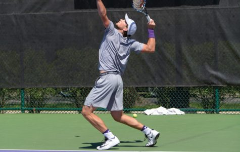Strong Kirchheimer reaches to serve. The senior is one of two NU players set to compete at the NCAA Singles Tournament.