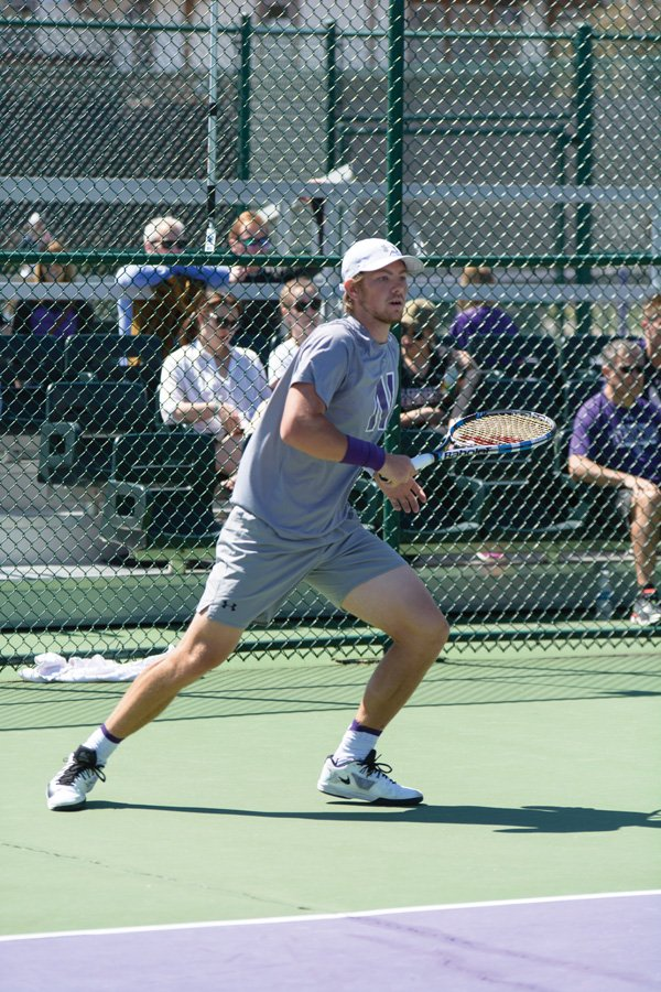 Strong+Kirchheimer+moves+on+the+court.+The+senior%E2%80%99s+career+ended+in+the+second+round+of+the+NCAA+Singles+Tournament.