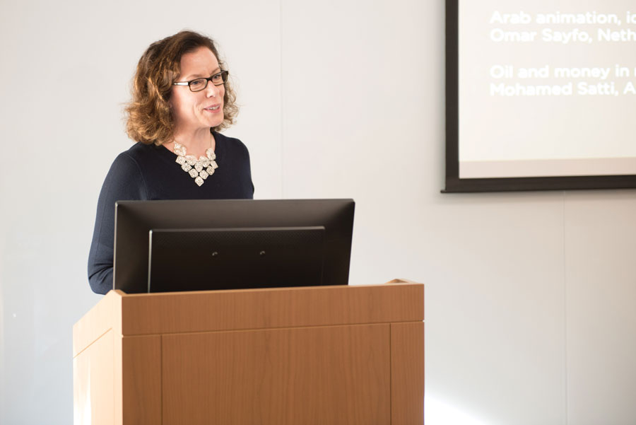 Director of the Media Majlis Pamela Erskine-Loftus speaks about Northwestern University in Qatar's new museum in Kresge Hall on Thursday.  Erskine-Loftus discussed the museum's planning process, purpose and upcoming exhibitions.