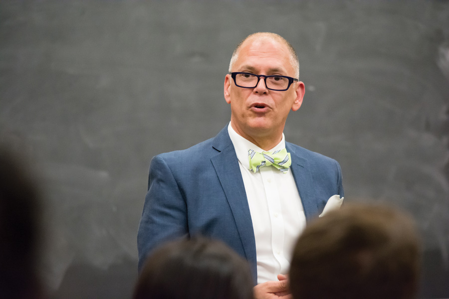 Same-sex marriage activist Jim Obergefell talks about his experiences as a plaintiff of a Supreme Court case that legalized same-sex marriage in Harris Hall on Thursday. Obergefell said he will continue to be involved social activism in honor of his late husband John Arthur.