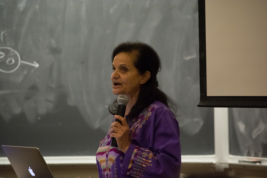 Rasmea Odeh speaks during an event held by Students for Justice in Palestine on Monday. Students expressed varied reactions to her speaking on campus.