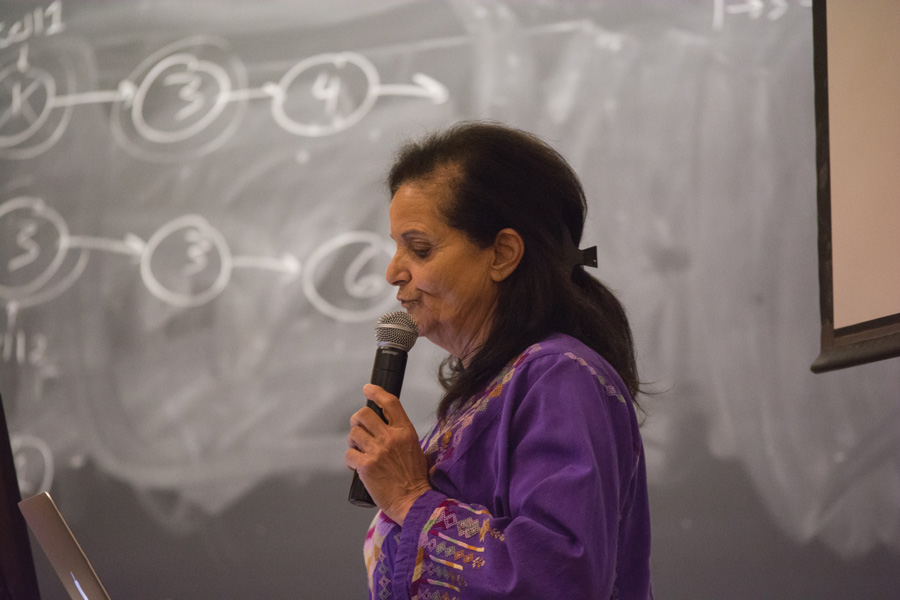 Palestinian organizer Rasmea Odeh speaks about her fight for liberation in the Technological Institute on Monday. The talk is a part of a series of events held by Students for Justice in Palestine for their Israeli Apartheid Week.