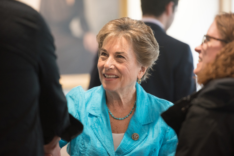U.S. Rep. Jan Schakowsky (D-Ill.) discusses policy issues and voter disconnect at an event earlier this month. Schakowsky introduced a bill Tuesday that would require companies to provide more information about price increases for certain drugs.