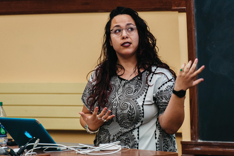 Documentary filmmaker Rebecca Pierce discusses anti-black racism in Israel at an event hosted by Students for Justice in Palestine. The event was part of Israel Apartheid Week.