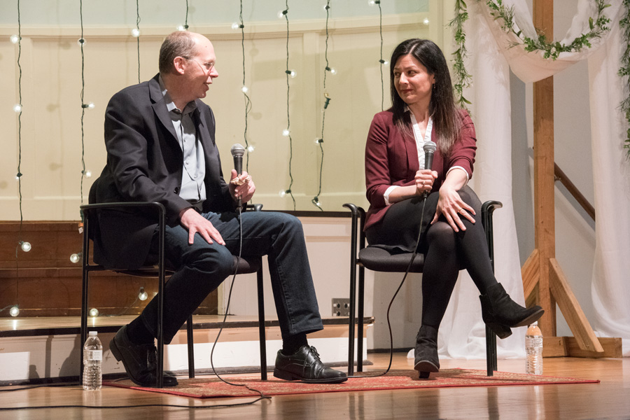 Medill+Prof.+Alex+Kotlowitz+and+philosophy+Prof.+Jennifer+Lackey+talk+at+an+Evanston+Literary+Festival+event+on+Tuesday.+The+two+professors+worked+together+on+a+project+to+help+prisoners+tell+their+stories.