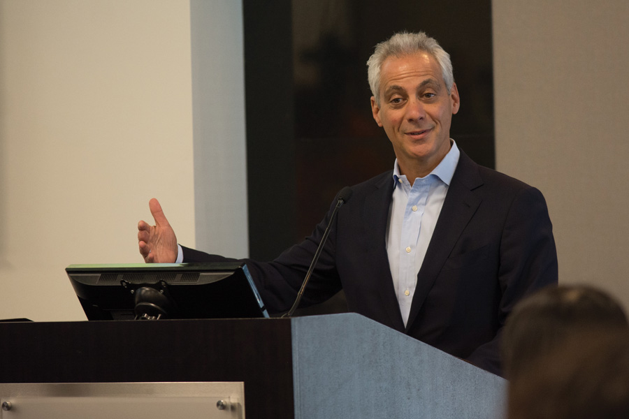 Chicago+Mayor+Rahm+Emanuel+speaks+at+a+luncheon+on+May+12.+Emanuel+honored+25+Chicago+Star+Scholars+who+received+scholarship+money+and+internship+placements+through+the+program.
