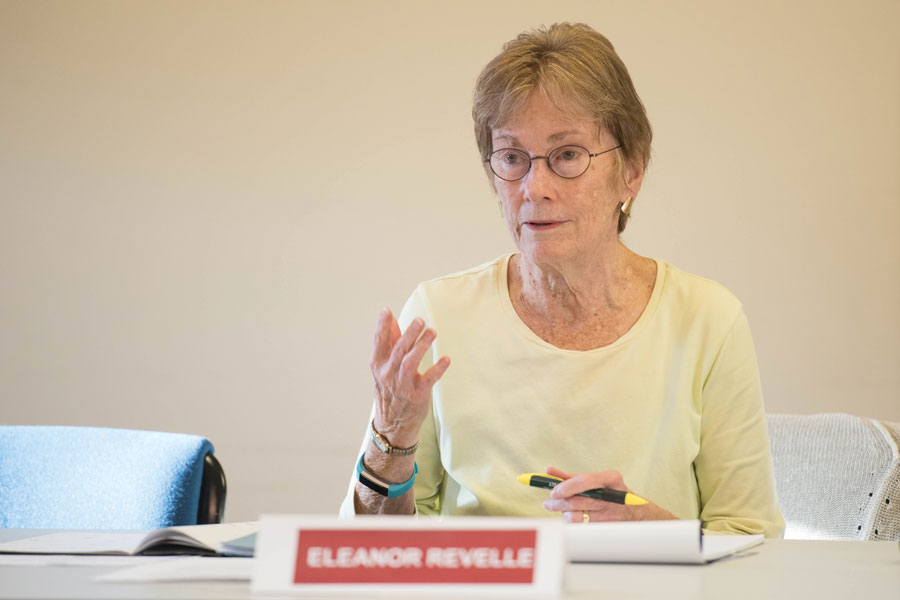 Ald. Eleanor Revelle (7th) speaks at a city meeting. Revelle and other Evanston residents advocated against a proposed access road that would have cut through Isabella Woods in northwest Evanston.