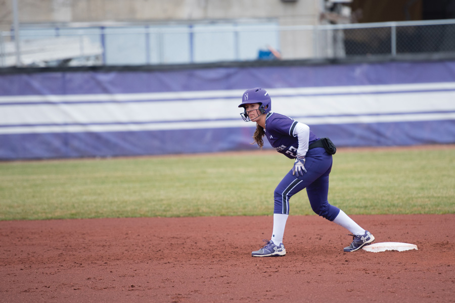Krista Williams leads off second base. The senior outfielder and the Wildcats swept Illinois in a doubleheader Wednesday.