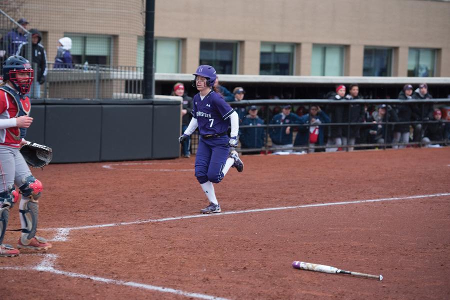 Sophomore+Morgan+Nelson+crosses+the+plate.+Nelson+was+responsible+for+bringing+home+Northwestern%E2%80%99s+only+run+Friday+in+the+Big+Ten+Tournament+quarterfinal.+