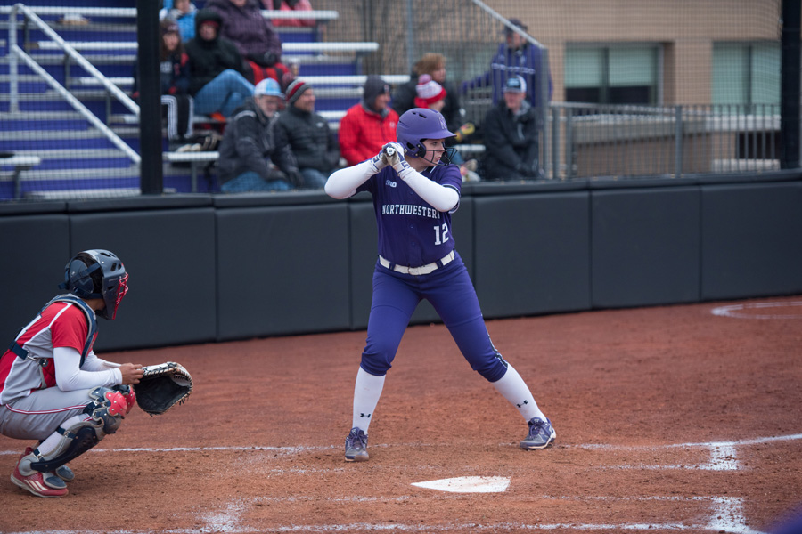 Sophomore+pitcher+Kenzie+Ellis+steps+up+to+the+plate.+The+sophomore+will+play+a+vital+role+from+both+the+batters+box+and+the+mound+against+Illinois.