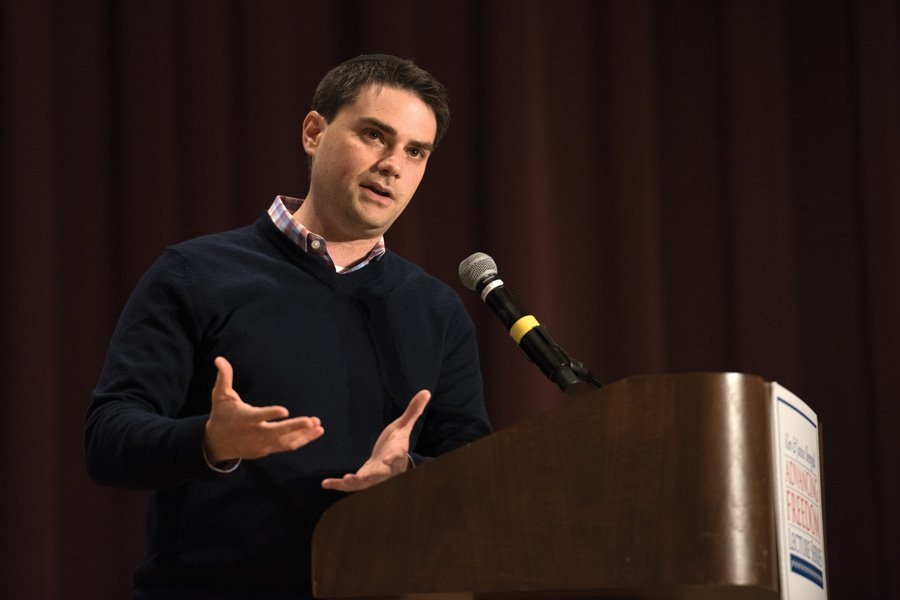 Political+commentator+Ben+Shapiro+speaks+during+an+event+hosted+by+College+Republicans+in+McCormick+Auditorium+on+Wednesday.+Shapiro+discussed+a+variety+of+social%2C+political+and+campus-specific+topics.+