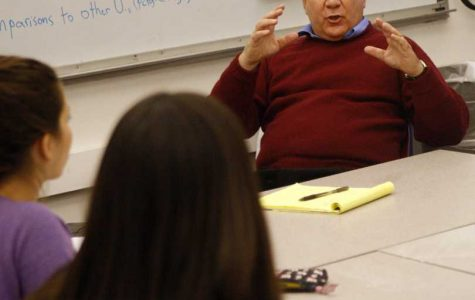 Former Medill Prof. David Protess speaks with students during an Innocence Project meeting at Northwestern in 2009. Anthony Porter, whose sentence was overturned due to evidence found by a Medill class led by Protess, missed a deposition last week in a lawsuit alleging he committed murder, according to a court filing.