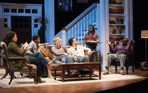 """Students rehearse for an upcoming production of """"Stick Fly."""" The play will begin this Friday and will explore issues of race and privilege."""