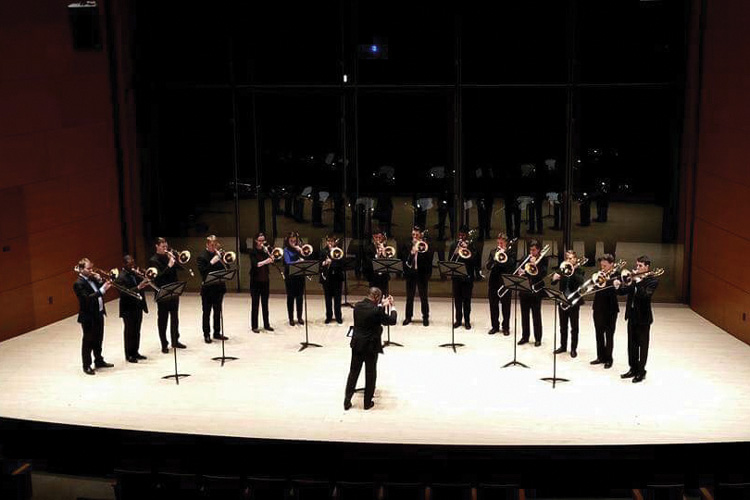 Northwestern University Trombone Choir performs in Galvin Recital Hall in January. The group won the International Trombone Association Emory Remington Competition and will be performing in at a festival in California.