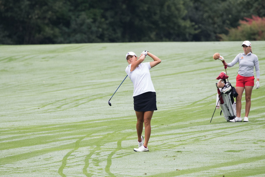 Hannah+Kim+takes+a+shot+off+the+fairway.+The+junior+tied+for+eighth+overall+at+1-under+in+the+Athens+Regional%2C+helping+Northwestern+advance+to+the+National+Championship+tournament+as+a+team.+