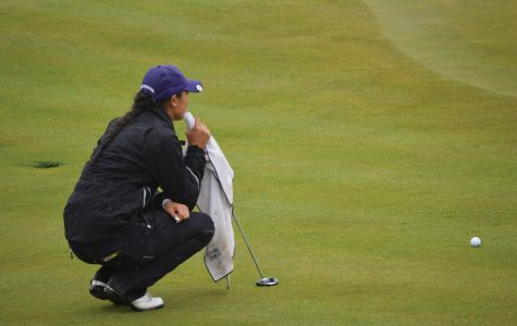 Kacie Komoto watches her putt. The senior and the Wildcats fell just short of a national title, losing to Arizona State in the final on Wednesday.