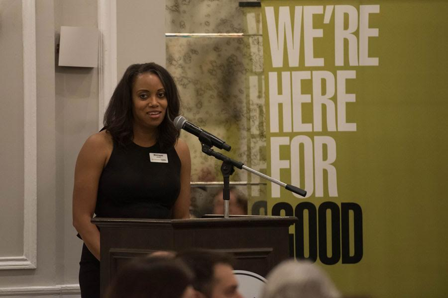 Evanston Community Foundation president and CEO Monique Brunson Jones speaks at an event Tuesday. ECF announced more than $800,000 worth of grants at an annual celebration.