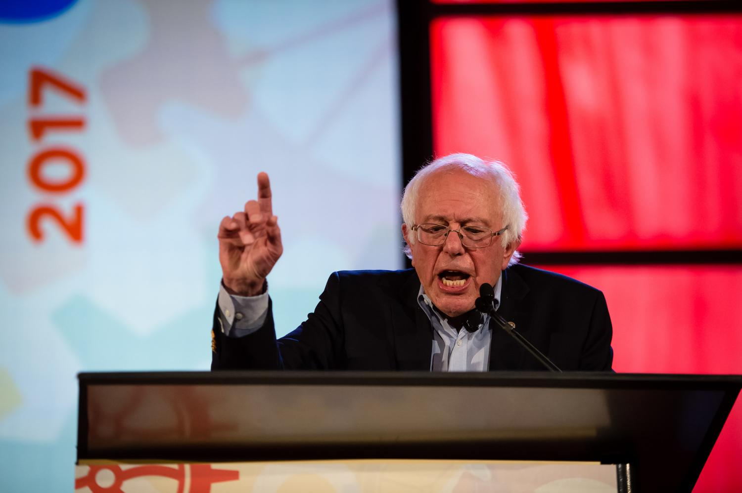 U.S. Sen Bernie Sanders (I-Vt.) speaks at the People's Summit in Chicago. The former presidential candidate addressed future steps for the Democratic Party after its 2016 election defeat.