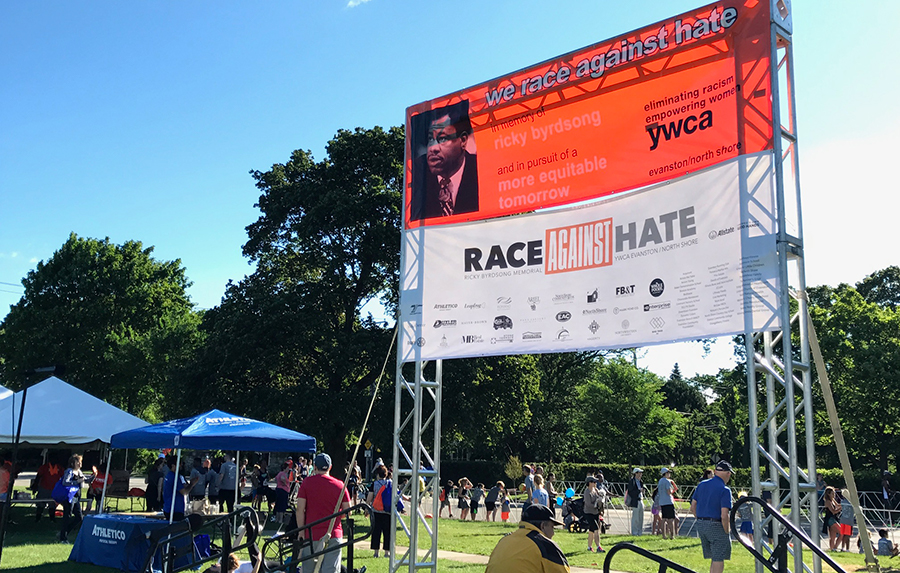 Sponsor booths on Long Field line Sheridan Road at the 18th annual Ricky Byrdsong Memorial Race Against Hate on Sunday. The event featured 10k and 5k races as well as other activities for non-runners.