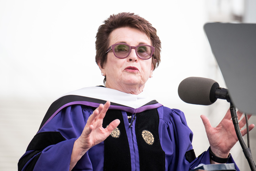 Billie Jean King speaks at Northwestern commencement. King discussed gender equality and gave life advice to graduates.