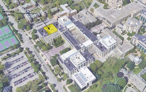 The current satellite view of the Technological Institute, with the proposed location of the new infill shown in yellow. The addition will be one of several to be built since 2008, architect Mitchell Fox said.